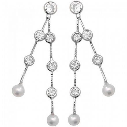 Just Gold Earrings -9Ct Drop Earrings Cz-Pearl, ES336